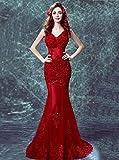 YT-RE Abito da Sposa Rosso con Scollo a V, Vestito a Sirena con Scollo a V, Senza Maniche, Rosso, XXL