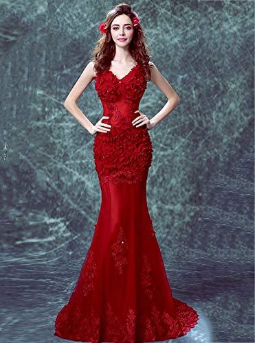 YT-RE Rote Perspektive Halfter Kleid Hip Meerjungfrau Kleid V-Ausschnitt Ärmelloses Blütenblatt...