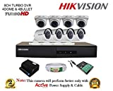 Hikvision DS-7208HGHI-F1 720P (1MP) 8CH Turbo HD DVR 1Pcs ,Turbo Dome Camera 4Pcs & Bullet Cameras 4Pcs ,1TB HDD , Active Copper Cable & Active Power Supply Full Combo Kit.