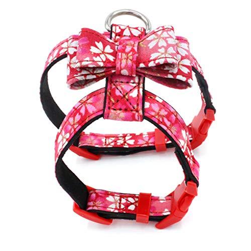 Lorjoyx Suministros de impresión Floral del arnés Ajustable Collar para Perro Parte Posterior del Pecho de tracción de la Correa del Perrito básico arneses Anti-Perdidos