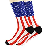YOUBETTER 2 Pair American Flag Mens Cotton Stars&Stripes USA Socks Old Glory Casual Crew