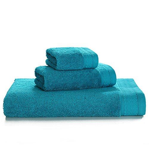 WSAD Erwachsene Männer Und Frauen Baumwolle Handtücher Und Badetücher, Square Schal Paar Verdickt, 3 Stück Anzug,Geist Blau -