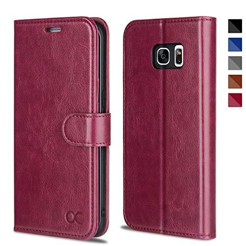 OCASE Samsung Galaxy S7 Edge Hülle Handyhülle [Magnetverschluss][ Premium Leder ][ Standfunktion ][ Kartenfach ] Brieftasche Klappetui Schutzhülle Samsung Galaxy S7 Edge Cover (Burgundy)