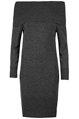 Be Jealous Frauen aus der Schulter Peplum Rüsche Rüsche Langarm Gerippt Bodycon Bardot Midi Kleid Holzkohle