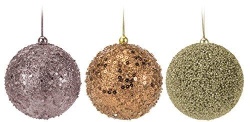 9 mm set palla di natale bronzo marrone rame 6cm - in polistirolo infrangibile set 9 pezzi