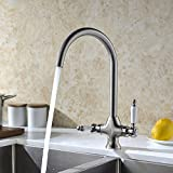 Refin Kitchen Sink Mixer Tap Brushed Nickel Dual Lever Bar Kitchen Taps