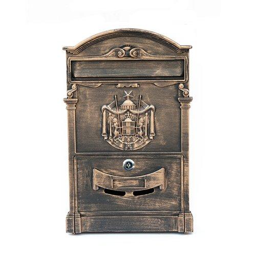 ZNL Briefkasten Postkasten aus Aluguss Antiker Wandbriefkasten XBX03 Antik-Gold