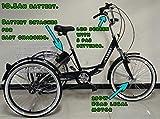 Triciclo plegable eléctrico para adultos, ruedas de 24 pulgadas, sistema de cambios Shimano de 6 velocidades, motor de 250W, varios colores, negro