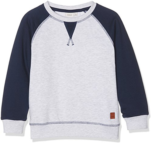 NAME IT Jungen Sweatshirt Nitvodvar Bru Sweat Nmt, Mehrfarbig (Light Grey Melange), 140 (Herstellergröße: 134-140)