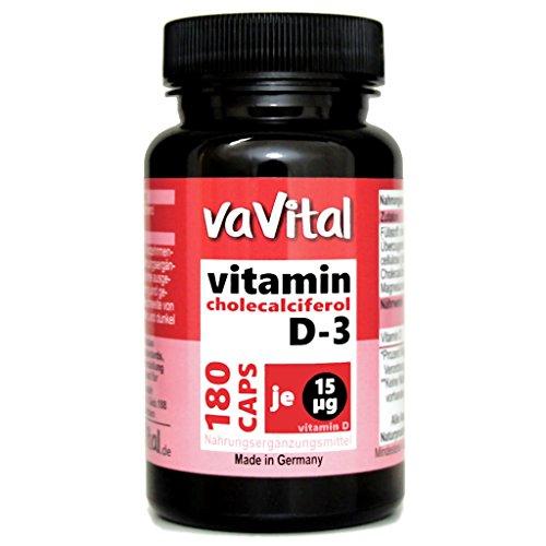 VITAMIN D3 - 15 µg je Kapsel | 180 Kapseln | 100% Vegan | 6 Monatsvorrat | hergestellt in Deutschland | Premium Produkt - vaVital