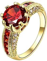 AMDXD Schmuck Vergoldet Damen Ringe (Eheringe) Roten Stift Weiß Gr.57 (18.1)
