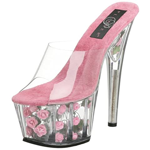 Pleaser Women's Adore-701FL Sandal, Clear/Hot Pink Flowers, 4 UK