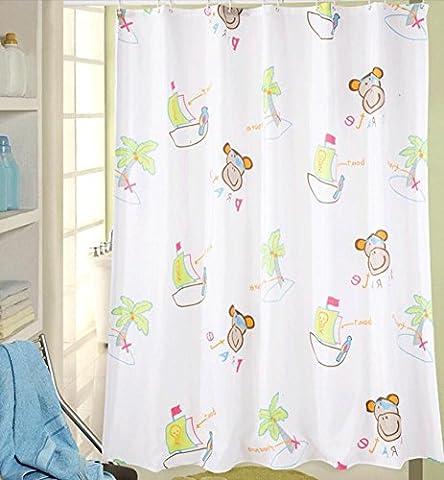 Rideaux de douche en polyester Enfant Mélange anti-rides Anti-rides à séchage rapide Anti-gravité Barrière imperméable à l'eau Rideau de salle de bain Barrière Rideaux Multi-taille, envoyer des croche , W 180*H 220