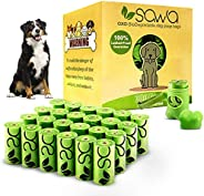 SAWA Dog Poop Bags Lavender Scented with Dispenser 20 Rolls 300 Packs of Thick Poo Bags and Leash Clip for Dog