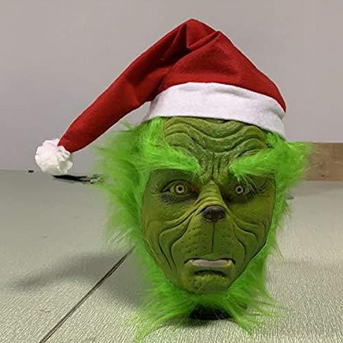POIUYT Adulte Halloween Grinch Casque Masken Cosplay Kostüm Adulte Vert Latexmaske Fantaisie Robe Marchandise - Kostüm Di Spiderman Adulto