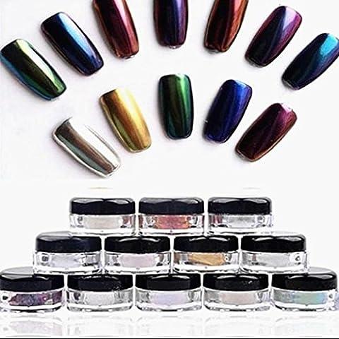 ♥ Loveso ♥-Make up Nagel-12 Farben-Funkeln-Puder glänzende Nagel-Kunst-DIY Chrome Pigment mit Schwamm-Stock-Spiegel Powder