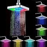 6 Zoll led duschkopf mit farbwechsel 7 farben RGB Regendusche Einbauduschköpfe Antikalk (7 colors)