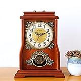 OLILEIO chinesischen Stil, Wohnzimmer, Massivholz, antike Uhr, Uhr, Kreative Pendeluhr, Quarzuhr,10 Zoll, Redwood Farbe