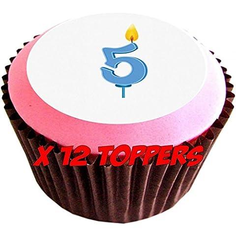 Candela da compleanno 5 #edible cake toppers (Confezione di 12