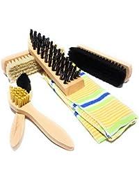 bambelaa. Zapatos Juego de limpieza Cepillos de 6piezas para profesionales Guantes Cuidado y limpieza con Gratis Bolsa para guardar