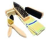 Bambelaa! Schuhputz-set Schuhbürsten 6-teilig zur professionellen Schuhpflege und Reinigung mit Gratis Tasche zur Aufbewahrung