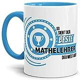 Tassendruck Berufe-TasseSo Sieht der Beste Mathelehrer aus Innen & Henkel Hellblau/Job/Tasse mit Spruch/Kollegen/Arbeit/Fun/Mug/Cup/Geschenk Qualität - 25 Jahre Erfahrung