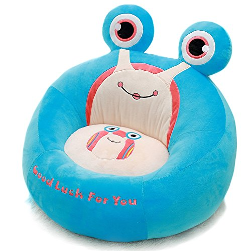 Vercart - Puf infantil en forma de rana (cama y sofá para niños, algodón, asiento suave y cómodo), algodón, azul, 45CM