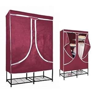 Armoire vestiaire armoire penderie pliable en tissu bordeaux 5004 à 3 f