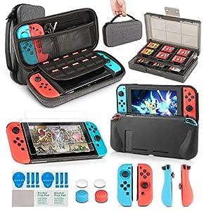 innoAura 11 in 1 Zubehör Set die Nintendo Switch , Tragetasche, Game Card Slot Halter, TPU Cover, Joy-Con Covers, Thumb Caps & Displayschutzfolie