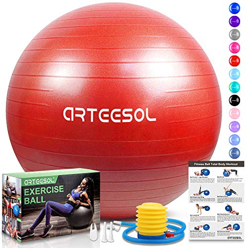 arteesol Gymnastikball, Balance Ball 45cm/55cm/65cm/75cm Yoga Ball mit Pumpe Anti-Burst Fitness Balance Ball für Core Strength (Rot, 45cm)