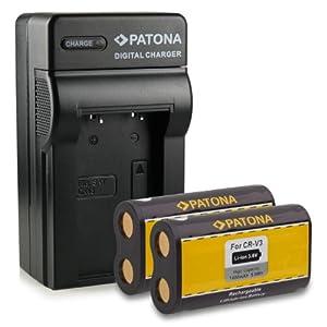 recambios telefonia: Bundle - 4en1 Cargador + 2x Batería CR-V3 para Kodak EasyShare C300 | C310 | C31...