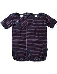wellyou, 2er Set Kinder Baby-Body Kurzarm-Body, marine-blau neon-pink gestreift, geringelt, Feinripp 100% Baumwolle, Größe 50-134