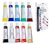 Lot de 10 Tubes 10x12ml Peinture Acrylique 10 Couleurs