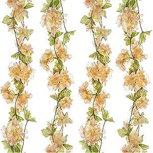 Turelifes 1 Paquete de 7,22 pies/Pieza de cerezos Artificiales Vines Colgantes Flor Spray arreglos de Guirnalda de…