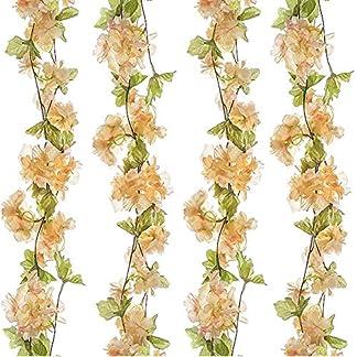 GL-Turelifes 1 Paquete de 7.22 pies/Pieza de Flores Artificiales de Cerezo para Colgar, arreglos de Flores Artificiales, Guirnalda de Flores de Seda para decoración del hogar, Fiesta, Boda (champán)