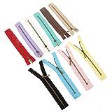 MGoodoo Cremalleras metálicas de Nailon para Costura, 10 Unidades, Color al Azar, 15 cm