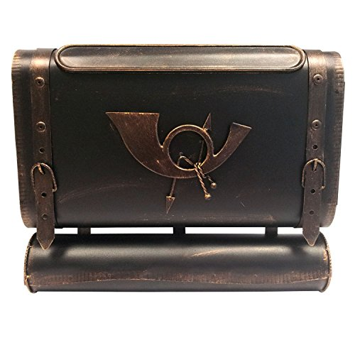 Briefkasten Wandbriefkasten Postkasten Mailbox Antik-Look Metall Posttasche mit Zeitungsrolle Zeitungsfach Zeitungsbox - Bronze