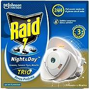 Raid Night & Day Trio Base, Antizanzare e Repellente Mosche, Contiene 1 Diffusore e 1 Ricarica, Senza Pro