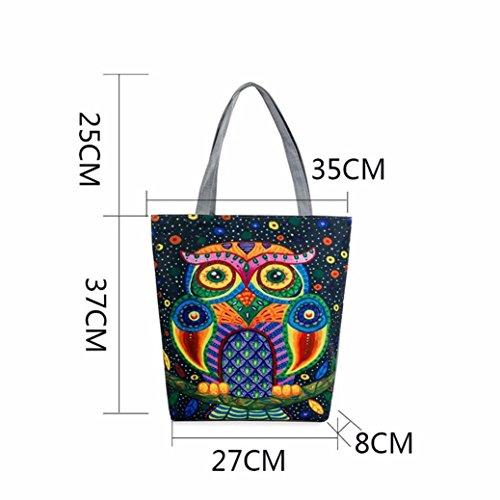 BZLine® Femme Sac à Main en Toile   Sacs à épaule à Motif des Hiboux   Taille: 37×8×27CM H