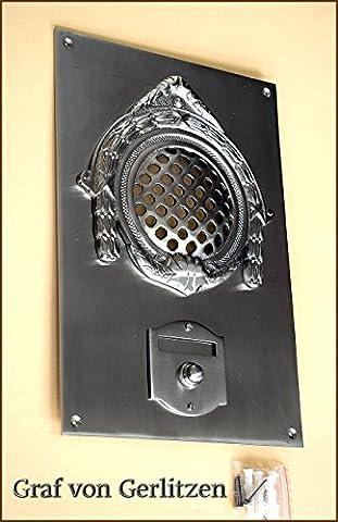 Graf von Gerlitzen Antik Nickel Tür Klingel 1 Gründerzeit Türklingel Klingelschild Klingelplatte Tür Sprechanlage Speek-1N
