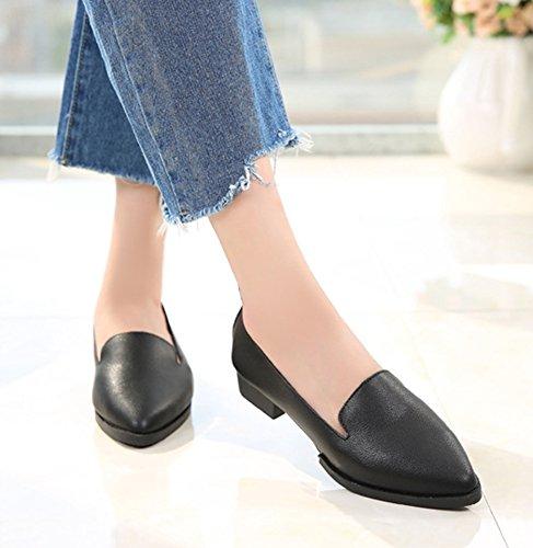 Aisun Femme Mode Chaussures de Travail Talon Bloc Escarpins Noir
