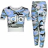 GUBA Mädchen Oberteil und Leggings, 2-teiliges Set, Camouflage, 7-13 Jahre Gr. 11-12 Jahre, Adios Blue Camouflage