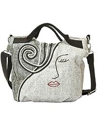 Crafts Graphy - Bolso estilo cartera de Lona para mujer beige original