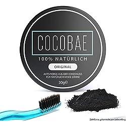 COCOBAE Teeth Whitening – Aktivkohle Bleaching – Natürliche & Vegane Zahnreinigung – Weiße Zähne – Bleiche Effekt – Aktivekohle 30g