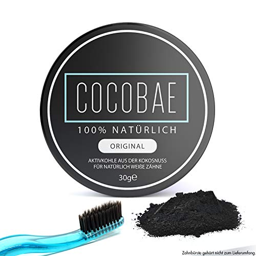 Cocobae Teeth Whitening - Natürliche Aktivkohle Für Weiße Zähne-Kokosnuss Dental Zahnreinigung - Bleiche Bleaching - Activated Charcoal Powder - Oral-b-fluorid