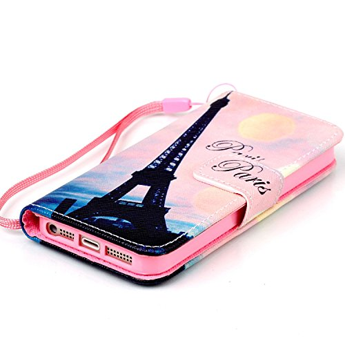 iPhone 5S Hülle, ISAKEN iPhone 5S 5 Hülle Muster, Handy Case Cover Tasche for iPhone 5S/5, Bunte Retro Muster Druck Flip Cover PU Leder Tasche Case Schutzhülle Hülle Handy Tasche Etui Schale mit Stand Rosa Himmel Eiffelturm Paris