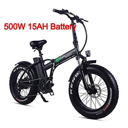 XXCY Bicicleta eléctrica Plegable 500w e-Bike 20'* 4.0 neumático Gordo 48v 15ah batería Pantalla LCD con 5 Niveles de Velocidad de Paso (Negro)