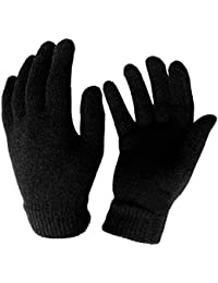 MEN'S & LADIES BLACK WARM THERMAL GLOVES STRETCHY KNITTED WINTER OUTDOOR SKIING