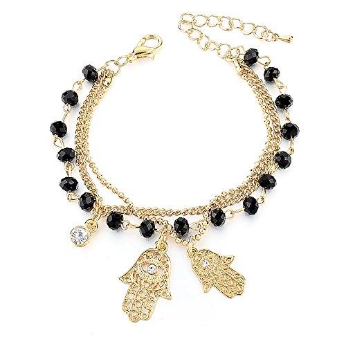 Fatimas Hand, Hamsa, Schmuck-Armband Glücksbringer, Ideal als Geschenk, Gold ()