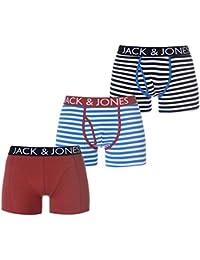 Jack & Jones JACWALTON Mens Striped Trunks 3 Pack Estate Blue/Rosewood